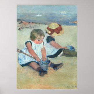 Dos niños que juegan en pintura al óleo del póster
