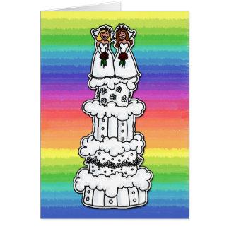 Dos novias en el pastel de bodas tarjeta