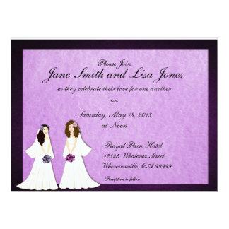 Dos novias invitaciones lesbianas del boda o de la invitación personalizada