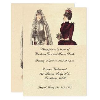 Dos novias que casan el vintage invitación 12,7 x 17,8 cm