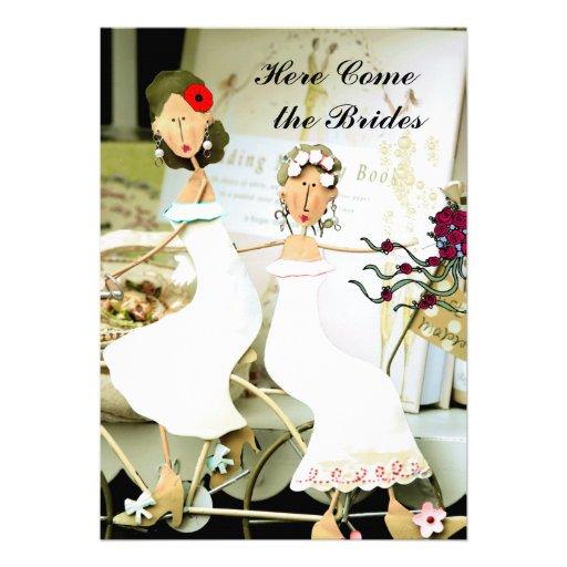 Dos novias que casan la invitación