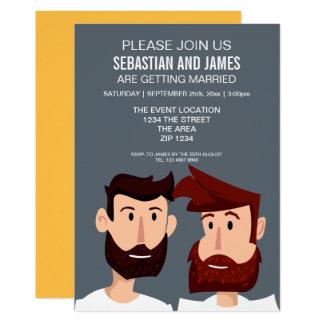 Dos novios del dibujo animado con el boda gay de invitación 12,7 x 17,8 cm
