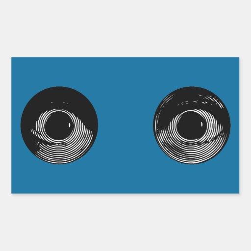 Dos ojos rectangular pegatina