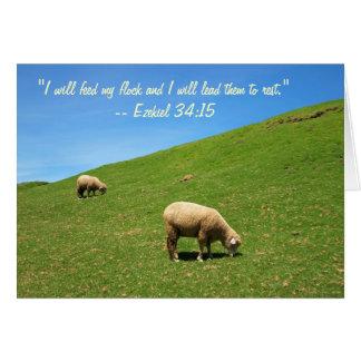 Dos ovejas están pastando pacífico tarjeta de felicitación