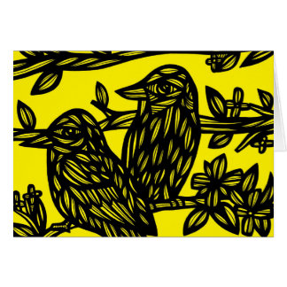 Dos pájaros ennegrecen amarillo tarjeta pequeña