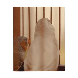 Dos pájaros lindos del pinzón en jaula impresión en madera