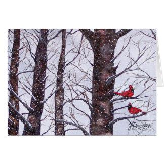 Dos pájaros rojos en invierno tarjeta de felicitación