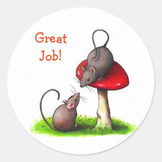 Dos pequeños ratones: Arte del lápiz del color: Pegatina Redonda