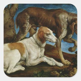 Dos perros de caza atados a un tocón de árbol c 1 calcomanías cuadradass
