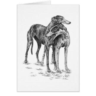 Dos perros del galgo que dibujan por el cisne de tarjeta pequeña