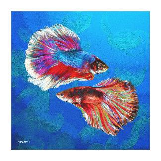 Dos pescados coloridos psicodélicos que luchan lienzo