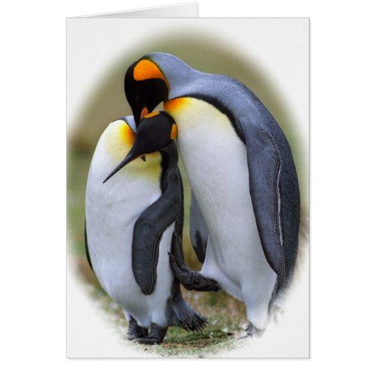 Dos pingüinos del amor tarjeta de felicitación