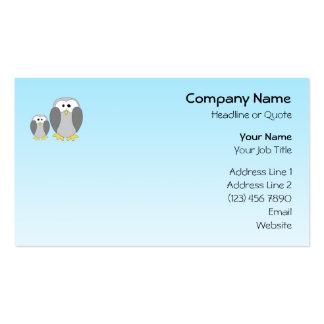 Dos pingüinos lindos. Dibujo animado en azul de Tarjetas De Visita