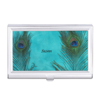 Dos plumas del pavo real de la aguamarina cajas de tarjetas de presentación