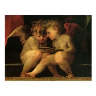 Dos querubes que leen por Rosso Fiorentino Postal