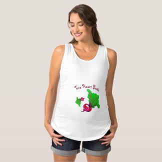 Dos remolachas del corazón camiseta de tirantes de premamá