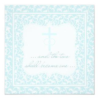 Dos se convertirán en aguamarina cristiana de un invitación 13,3 cm x 13,3cm