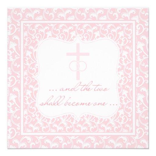 Dos se convertirán en un rosa cristiano del boda anuncios