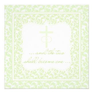 Dos se convertirán en un verde cristiano del boda comunicados personales