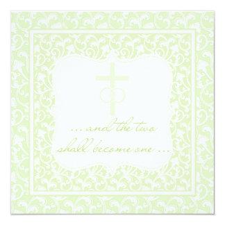 Dos se convertirán en un verde cristiano del boda invitación 13,3 cm x 13,3cm
