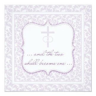 Dos se convertirán en una lavanda cristiana del invitación 13,3 cm x 13,3cm