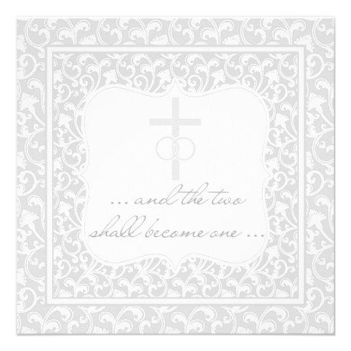 Dos se convertirán en una plata cristiana del boda comunicado personalizado