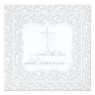 Dos se convertirán en una plata cristiana del boda invitación 13,3 cm x 13,3cm