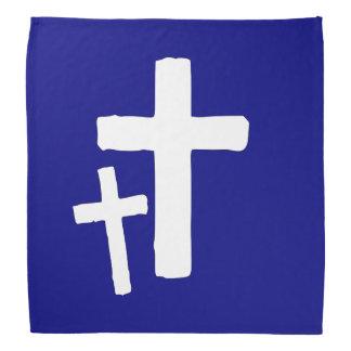 Dos símbolos cruzados blancos en azul bandanas