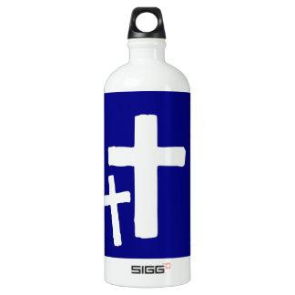 Dos símbolos cruzados blancos en azul botella de agua