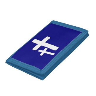 Dos símbolos cruzados blancos en la cartera azul