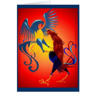 Dos tarjetas coloridas de los gallos que luchan