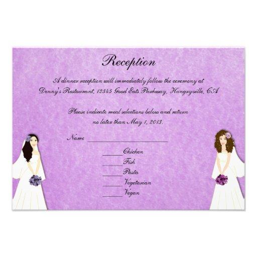 Dos tarjetas de encargo de la recepción del boda l invitaciones personales