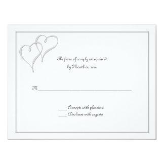 Dos tarjetas de RSVP del amor de los corazones uno Invitación 10,8 X 13,9 Cm