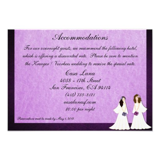 Dos tarjetas lesbianas de los alojamientos del bod invitación personalizada