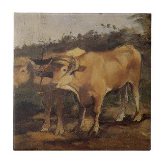 Dos toros que llevan un yugo de Enrique de Azulejo Cuadrado Pequeño