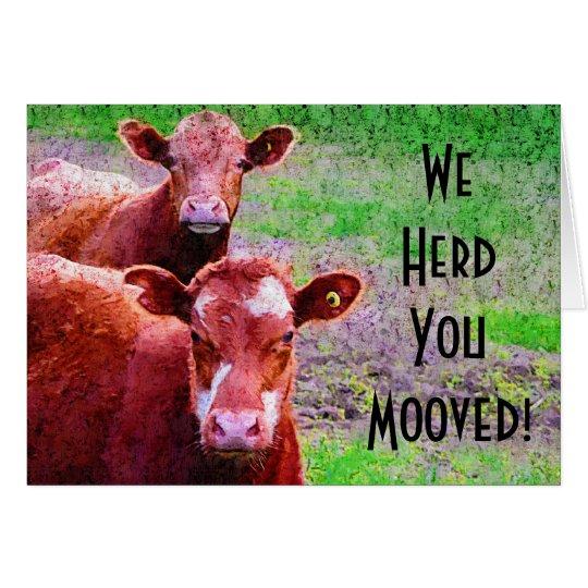 ¡Dos vacas le reunimos Mooved! Tarjeta De Felicitación