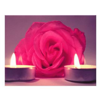 dos velas color de rosa de imagen floral rosada os tarjetón