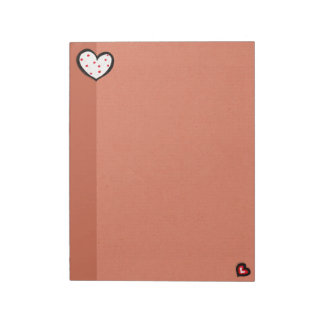 Dotty Hearts kraft red Large Notepad