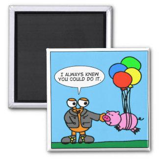 DoWallyz - cuando los cerdos vuelan el solo dibujo Imán Cuadrado