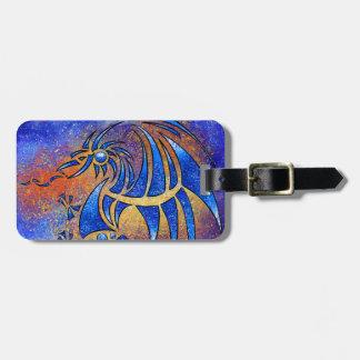 Dragissous V1 - dragón azul Etiqueta Para Maletas