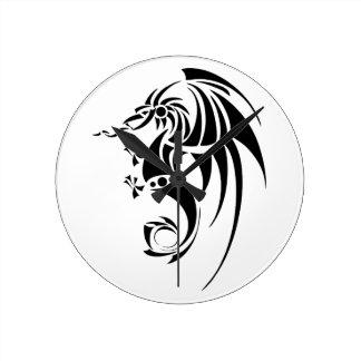 Dragissous V1 - dragón negro Reloj Redondo Mediano