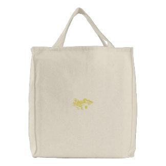 Dragón amarillo bolsa de tela bordada