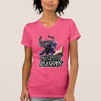 Dragón azul American Apparel T, fucsia del MD Camisetas