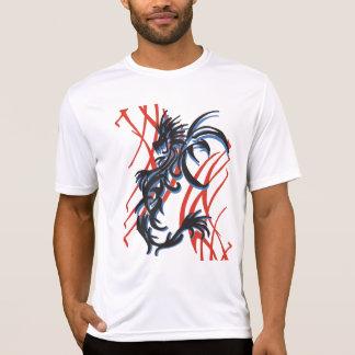 Dragón azul del negro de la sombra con rojo camisas