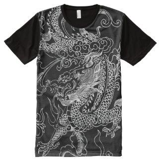Dragón blanco y negro camiseta con estampado integral