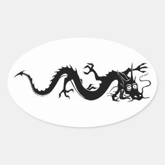 Dragón chino 10 pegatinas óval personalizadas