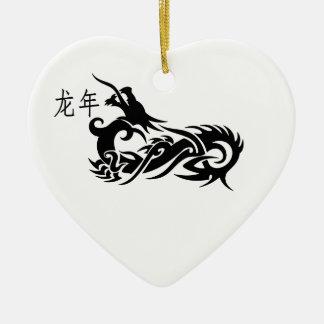 Dragón chino 2012 del Año Nuevo Adorno Navideño De Cerámica En Forma De Corazón