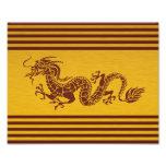 Dragón chino de la mitología, rayas - oro rojo