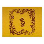 Dragón chino de la mitología, remolinos - oro rojo postales
