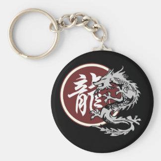 Dragón chino de la muestra del zodiaco llavero redondo tipo chapa